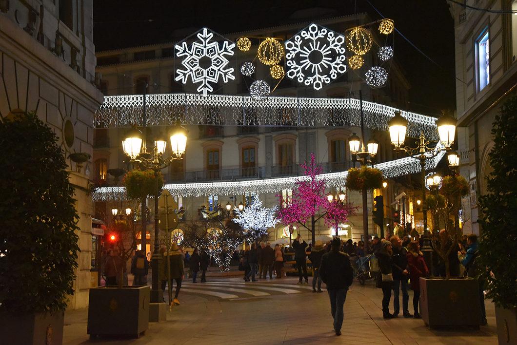 Les illuminations de Noël à Grenade en Espagne