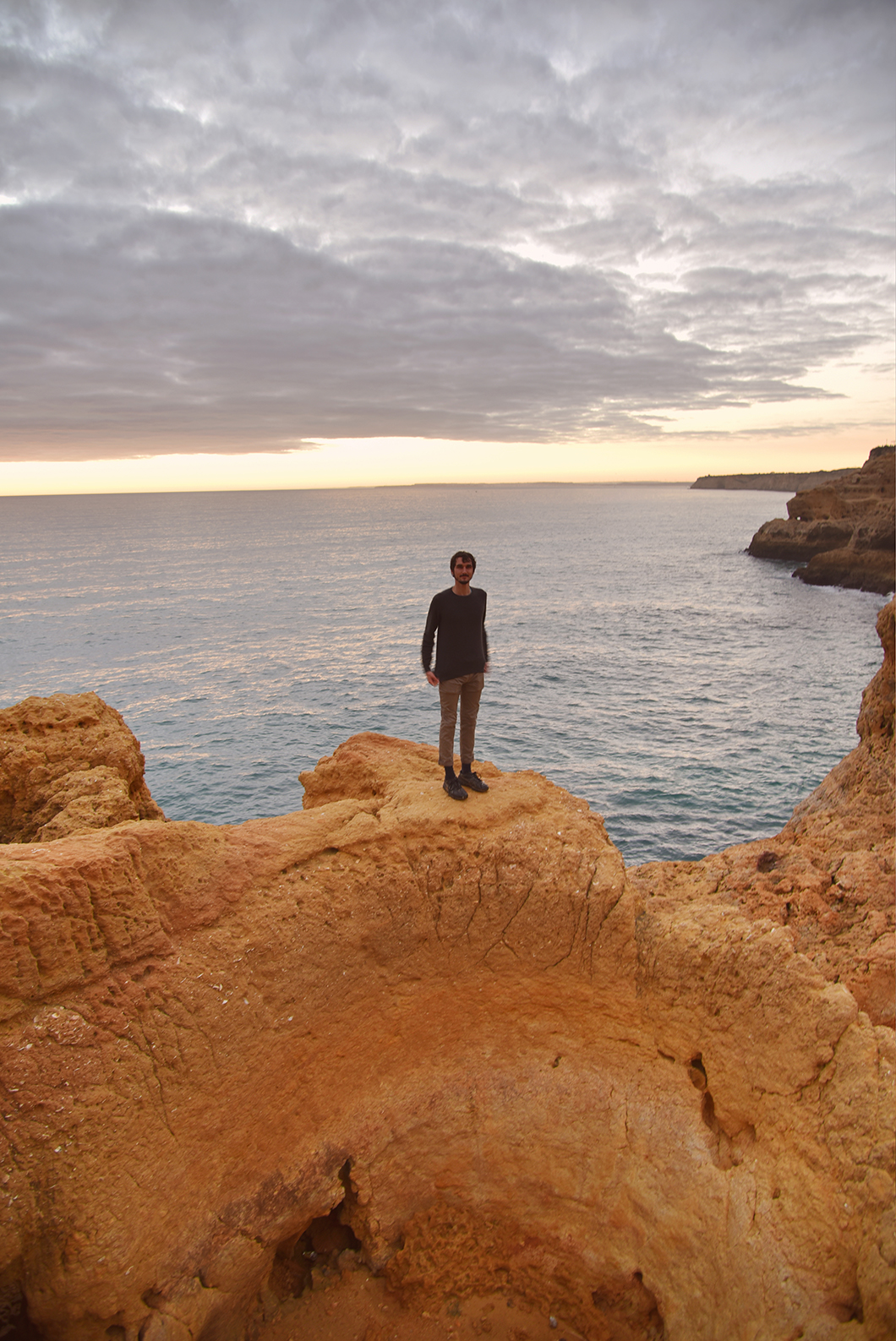 Algar Seco, le meilleur spot pour le coucher du soleil sur les falaises en Algarve en hiver