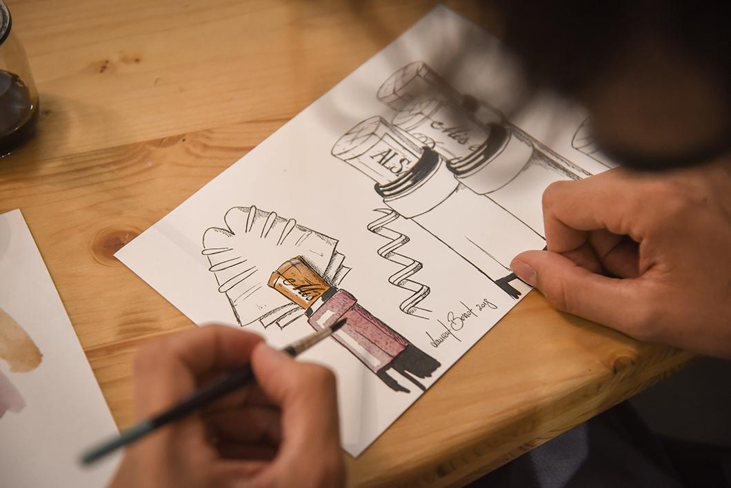 atelier peinture avec du vin - Domaine Achillée