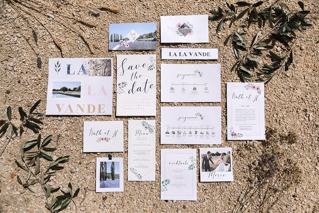 Papeterie mariage en Provence bohème chic