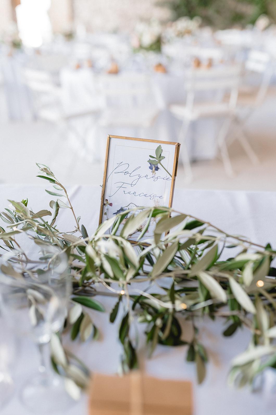 Décoration de table pour diner de mariage en Provence