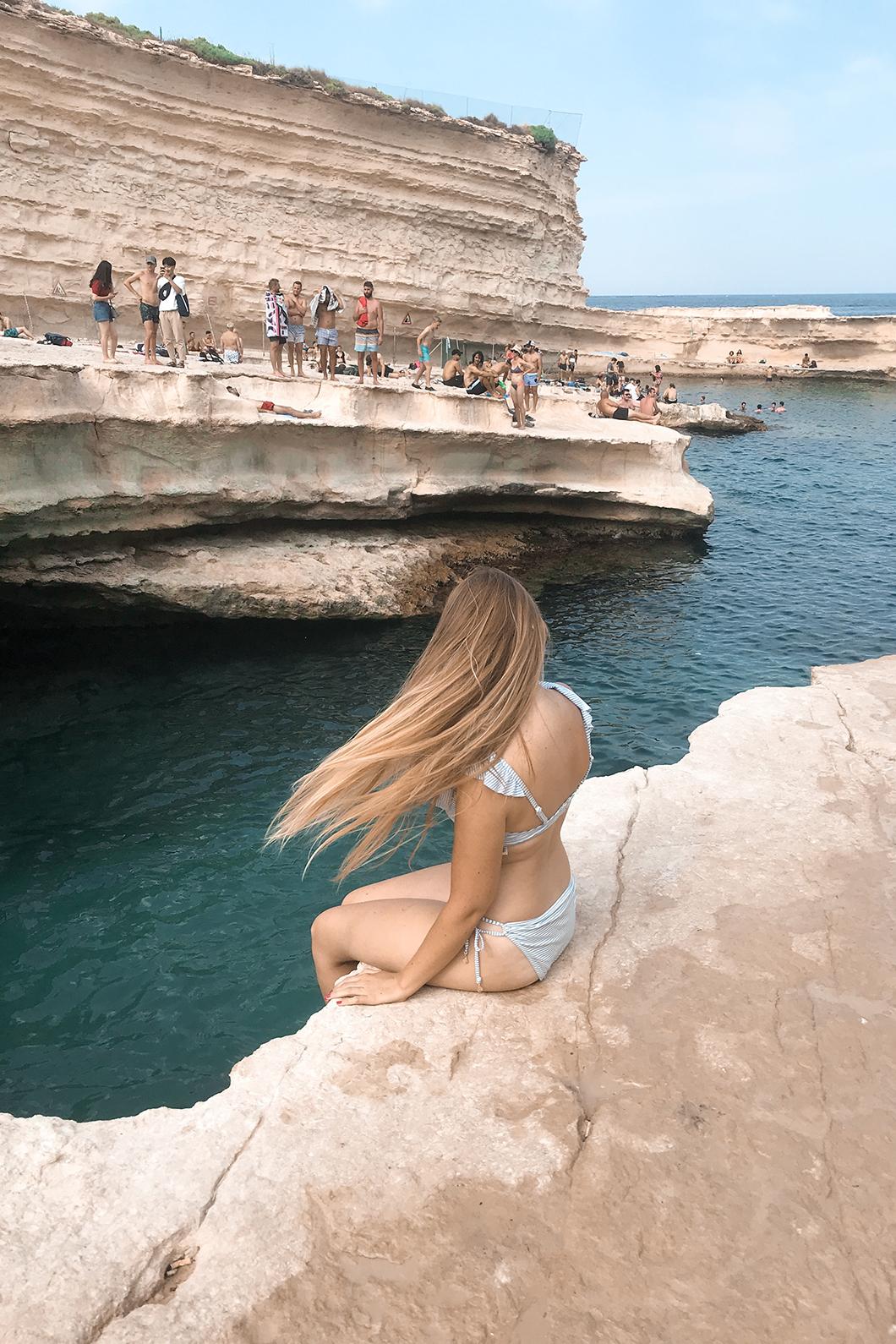 Baignade à St Peter's pool à Malte