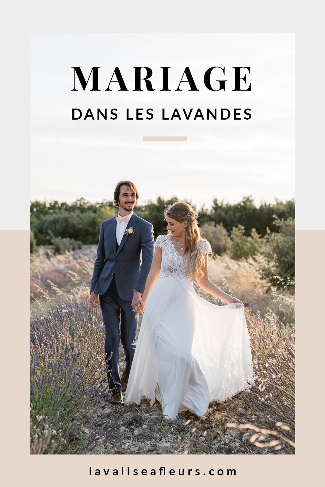 Mariage dans les lavandes dans le sud de la France