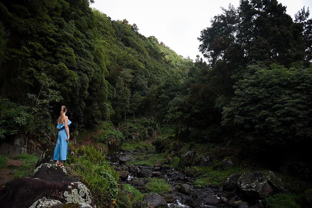 Point de vue sur la cascade de Salto Do Prego à Sao Miguel