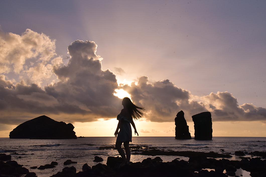 Coucher de soleil sur l'île de Sao Miguel