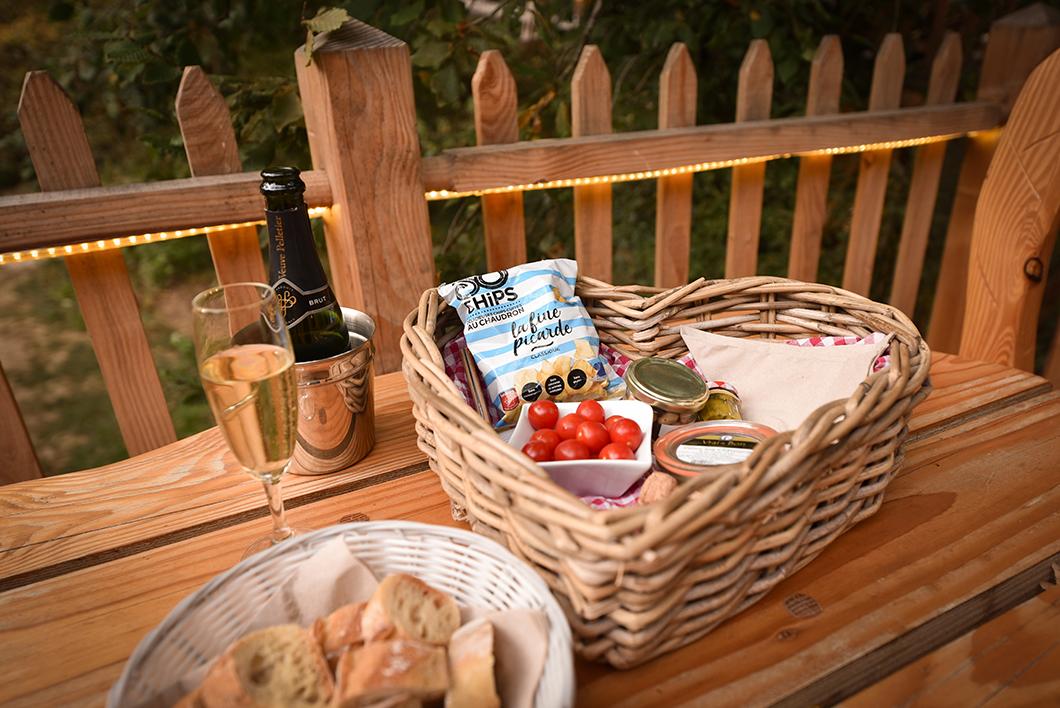 Panier apéritif au champagne au Bois de Rosoy