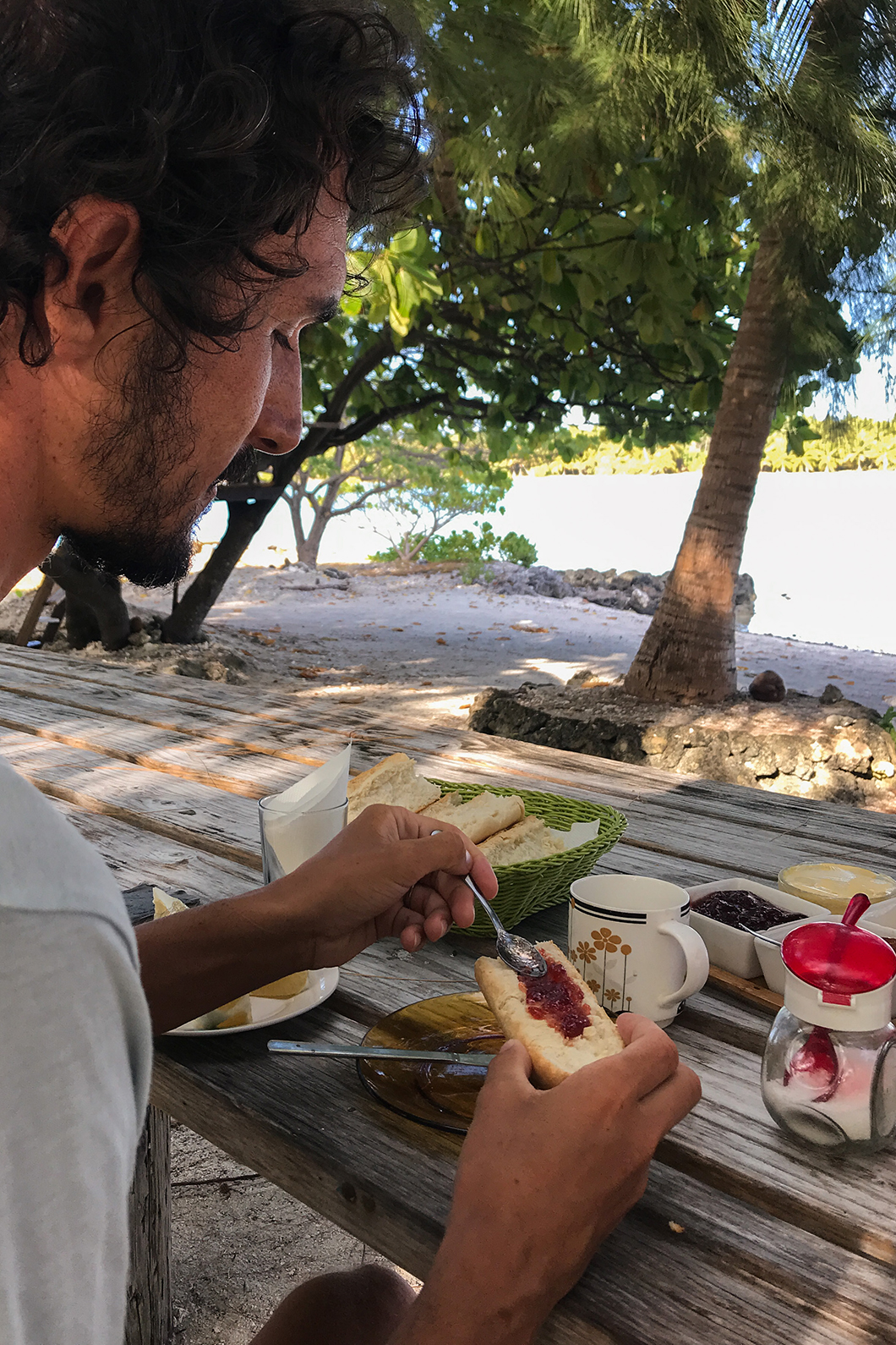 Petit déjeuner à la pensions Fare Pae'ao à Maupiti