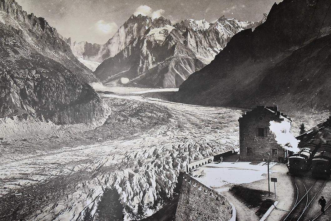 Ancienne photo de la Mer de Glace à Chamonix