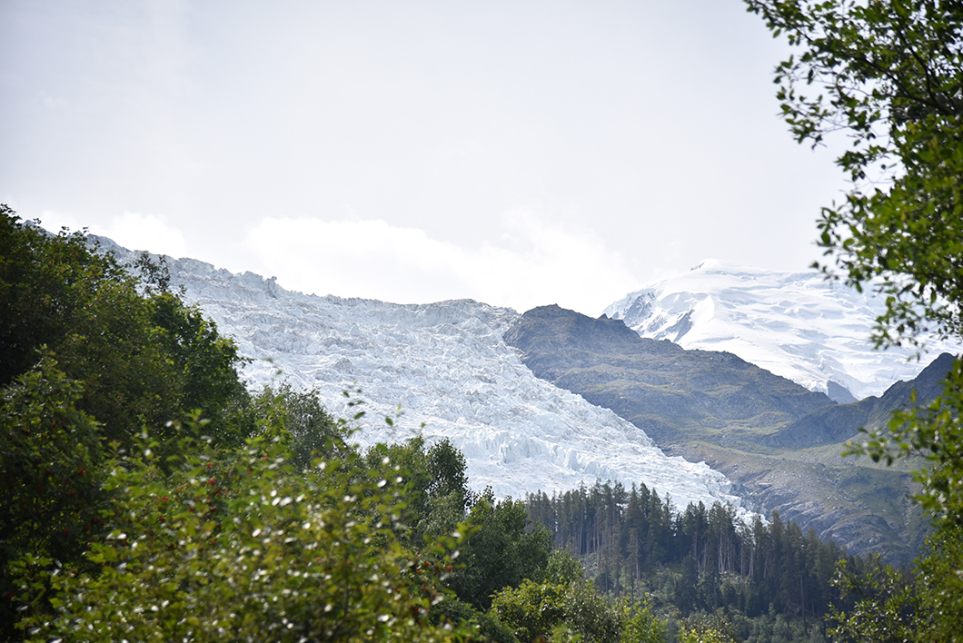 Vue sur le glacier des Bossons à Chamonix