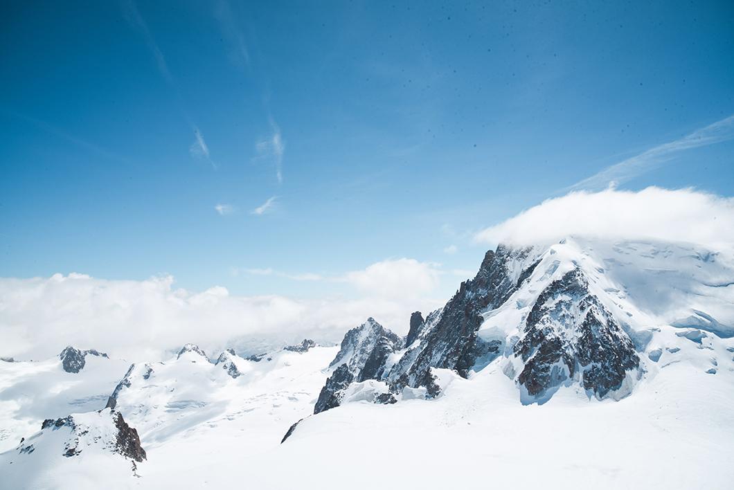 Point de vue sur le Mont Blanc depuis l'Aiguille du Midi