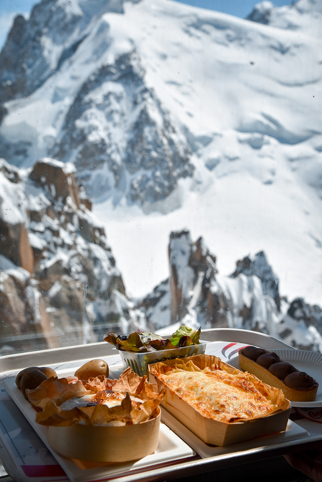 Manger à l'Aiguille du Midi